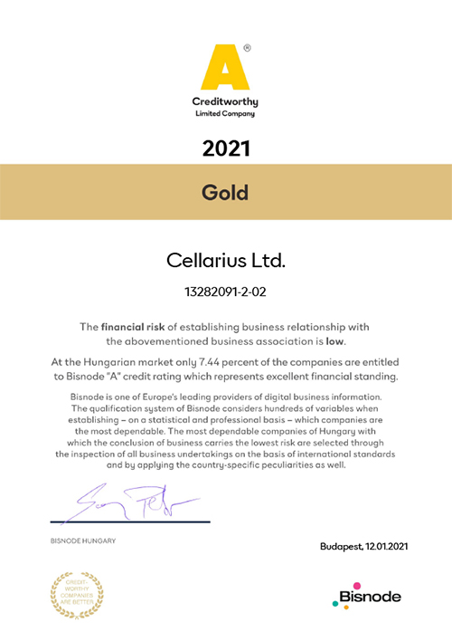 2021014 Cellarius Kft 2021 - Bisnode gold tanúsítvány - Hogy működik? - 2